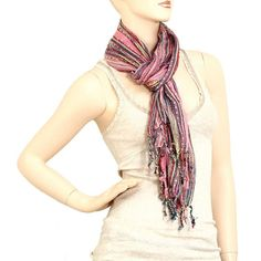 Pink and Multi Colored Scarf