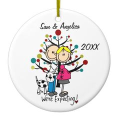 Shop Custom Expectant Couple 2 Dogs 1 Cat Ornament created by christmasshop. Personalize it with photos & text or purchase as is! Penguin Ornaments, Dog Ornaments, How To Make Ornaments, Christmas Tree Ornaments, Holiday Tree, Holiday Gifts, First Christmas Together Ornament, Couples Christmas Ornament, Christmas Couple