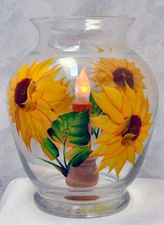 Hand Painted Sunflower Vase Light by Normanscountrycreek on Etsy, $29.95