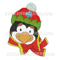This free embroidery design is a holiday penguin.