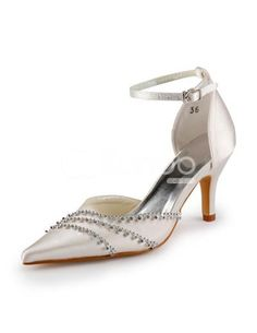 Ivory Ankle Strap Pointed Toe Satin Wedding Shoes. See More Bridal Shoes at http://www.ourgreatshop.com/Bridal-Shoes-C919.aspx