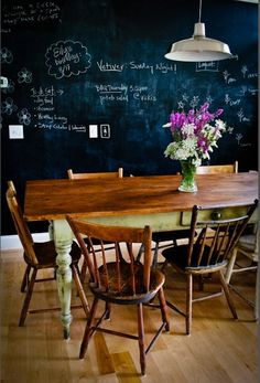 Chalkboard wall would be great for part of one wall for positive notes to each other!
