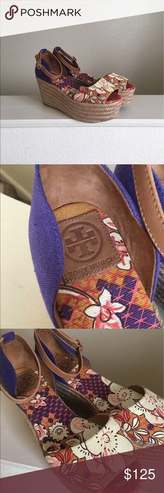 Tory Burch Sherri Espadrilles Size 9 espadrille platform wedges by Tory Burch. Beautiful floral pattern with ankle strap and buckle. Straw detail on the wedge. No flaws, worn only once! Practically brand new. Authentic Tory Burch. Logo on the inside of the shoe and on the buckle (it says Tory Burch). I ship daily - excluding Sundays and holidays - and I store items in a smoke free, pet free environment. Open to offers; bundles discounted! Tory Burch Shoes Espadrilles