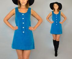 vtg 60's turquoise VELVET preppy mod retro scooter MINI DRESS, extra small