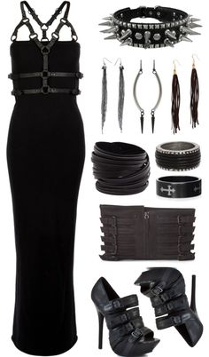 Dresses & Skirts: Long black dress, spikes, heels, leather yes! Dress $118, Heels, $180
