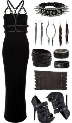Dresses & Skirts: Long black dress, spikes, heels, leather yes! Dress $118, Heels, $180