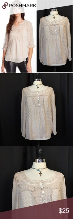 NEW LISTING💜Daniel Rainn Swiss dot lace blouse Size large. From Nordstrom. Pullover sheer Swiss dot top with pleated / button neckline. Lace detailing. 3/4 sleeves with elastic hems. 100% polyester. 🌀Please note that the model pic is slightly different, but it is being shown to show style & fit. The sleeves & fit of the top are the same.🌀 EUC (2.18.0)  💟Fast 1-2 day shipping 💟Reasonable offers accepted 💟Purchase 3 or more items & get a special bundle rate!  💟Smoke-free home Daniel…
