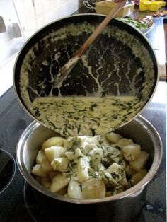 Ukrainian Dill Potatoes -- decadent with butter and full fat whipping cream.