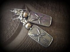 Gypsy, Silver,Dragonfly, Just Silver, Globes, Flowers, Beaded Earrings by YuccaBloom on Etsy