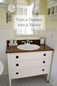 Want to get a high end look for cheap? Use this tutorial for turning a dresser into a bathroom vanity for a unique and inexpensive upgrade for your bathroom.