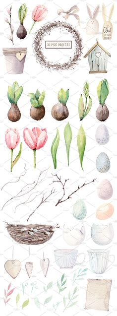 HAPPY SPRING watercolor set by Lemaris on @creativemarket