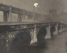 Original Tyne Bridge with High Level Bridge in background - circa 1865 Mystery Of History, Local History, History Mysteries, Old Pictures, Old Photos, Vintage Photos, Gateshead Millennium Bridge, Newcastle Quayside, Newcastle Gateshead