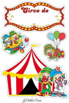 Convite Circus Birthday, Circus Theme, Circus Party, Royal Icing Templates, Clown Party, Paper Art, Paper Crafts, New Year's Crafts, Carnival Themes