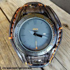 Leather Watch Men's watch Leather Cuff by CuckooNestArtStudio