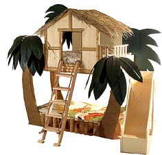 Something like this would be cool with only one bed: lower the upper bed and have storage and/or play fort underneath. Also make it more temperate, less tropical. Keep the slide for sure.