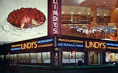 """Manhattan/Guys and Dolls ~ Lindy's, restaurant """"Mindy's"""" is based on. Manhattan, New Hyde Park, Broadway, Restaurant Themes, Dance Themes, York Restaurants, Living On The Edge, Guys And Dolls, Vintage New York"""