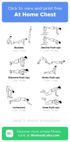Free Workout: At Home Chest · WorkoutLabs Fit Chest And Arm Workout, Back Workout Men, Chest Workout At Home, At Home Core Workout, Chest Workout Routine, Arm Workouts At Home, Gym Workout Chart, Workout Plan For Men, Gym Workout Videos