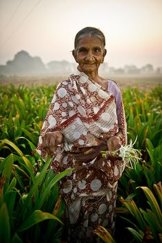 Gujarat, India - women farmers pick flowers at night with the aid of solar lanterns.