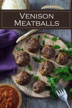 Venison Meatballs recipe via Easy Appetizer Recipes, Delicious Dinner Recipes, Healthy Dessert Recipes, Yummy Recipes, Amazing Recipes, Venison Recipes, Meatball Recipes, Venison Meatballs, Venison Roast