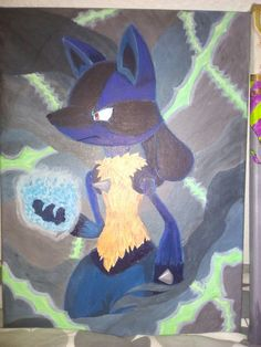 Acrylic painting of Lucario