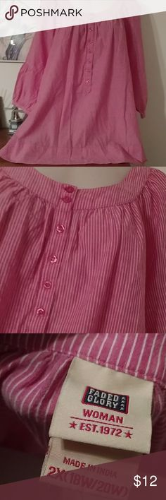 Nwot faded glory 2x top NWot pink and cream top sz 2x Faded Glory Tops