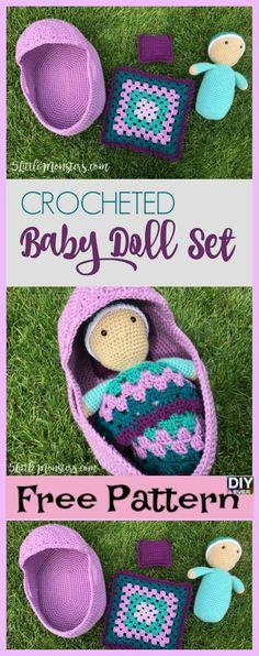 Crochet For Babies Crocheted Baby Doll Set Free Pattern Video Crochet Gifts, Cute Crochet, Crochet For Kids, Crochet Dolls, Crochet Baby Toys, Amigurumi Patterns, Crochet Patterns, Baby Doll Set, Baby Set