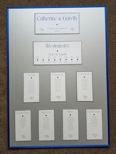 Silver and royal blue heart themed table plan board