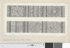 Detailed sketch of the tablet woven band 34D from the Oseberg grave, Norway.  Fotoportalen UNIMUS Teknisk rekonstruksjon av brikkevevbånd 34D. Osebergfunn, fra mappe 'Tekstilfragment - usikkert nr og Diverse': 'vevet bånd'. Tusjtegning av ukjent tegner. Mål: B: 31 cm, H: 17 cm.