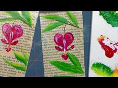 ▶ Bleeding Heart on an old Book Page (acrylic painting tutorial) - YouTube