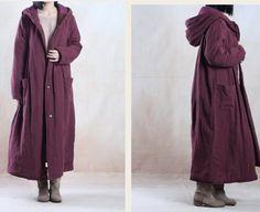 women plus size cotton linen coat