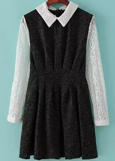 Black Contrast Lace Long Sleeve Pleated Dress - abaday.com