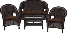 3478 Steel Frame Chocolate Wicker 4 Piece Set with Solid Chocolate Cushions by Flash Furniture. $564.99. Durable corrosion resistant steel frame Handwoven vinyl all-weather wicker Can be used indoor/outdoor Includes matching Loveseat, 2 Chairs, and Coffee Table Also includes matching seat-cushion set as shown Made of eco-friendly materials and CA 117 compliant foam DO NOT USE BLEACH ON THIS PRODUCT Loveseat Dimensions: 49.5''W x 24''D x 36''H Chair Dimensions: 2...