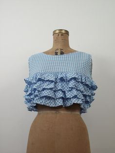 1960s blue and white gingham cotton crop top with four tiers of ruffles and…