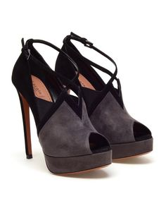 Black and Grey Suede Pumps by AZZEDINE ALAÏA at Browns Fashion for 805.00 £ lack and grey suede platform pumps with a black ankle strap. Almond peep toes. Suede covered platform. Elasticated panels on the vamp. Suede covered kitten stiletto heel. Cushioned leather insole. Made in Italy