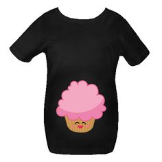 Cute pink kawaii face frosted cupcake Maternity Shirts has belly print design. $41.99 www.milestonesmaternity.com