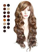 capless lange lysebrune bløde bølger hår pary... – DKK kr. 333