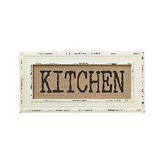 Vintage Bistro Burlap Printed Framed Wall Decor for Kitchen Dining Restaurant (KITCHEN)
