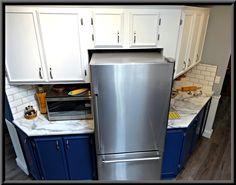 Updated kitchen's quick snack and baking centres. Baking Center, Kitchens, Kitchen Appliances, Quick Snacks, Updated Kitchen, French Door Refrigerator, Basement, Home, Design
