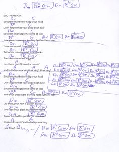Southern Man (Neil Young) Guitar Chord Chart