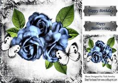 pretty blue roses and white butterflies in vintage frame 8x8 on Craftsuprint…