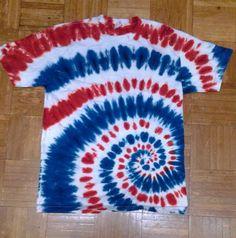 Red white blue hippie spiral tie dye t shirt. Blue Tie Dye Shirt, Tie Dye Shirts, Spiral Tie Dye, Tye Dye, Red White Blue, Crafty, Sewing, Clothing, Women