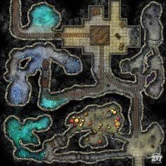 Dwarven Mines by Zatnikotel on DeviantArt Dark Fantasy, Fantasy Battle, Fantasy Map, Dungeon Tiles, Dungeon Maps, Dungeons And Dragons Characters, D&d Dungeons And Dragons, Dnd Characters, Resident Evil