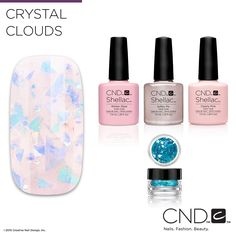 Nail Pros - Learn how to create this Crystal Clouds nail design with the how-to found on the Nail Art Gallery on cnd.com!