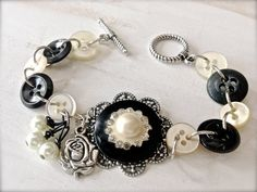 Vintage Button Bracelet Black and White Button by MissionJewels