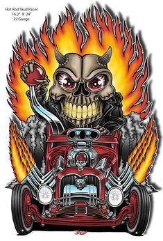 Hot Rod Skull Racer abgeschnitten Garage Kunst von Britt Madding x 24 - Motorrad Rat Rod Trucks, Rat Rods, Truck Drivers, Dually Trucks, Dodge Trucks, Pickup Trucks, Tow Truck, Big Trucks, Diesel Trucks
