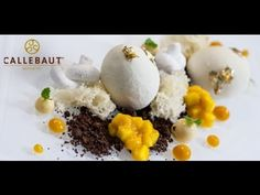 White chocolate & mango eggs dessert recipe, from Pastry Chef Martin Chi. No Egg Desserts, Fancy Desserts, Dessert Recipes, Baking And Pastry, Pastry Chef, Mango Pudding, French Bakery, Chocolate Decorations, Best Chef