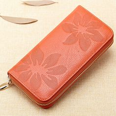 New European Genuine Leather Floral Women Wallets Red Large Zipper Long Wallet Women Flower Phone Pouch Female Purses 1121 #CLICK! #clothing, #shoes, #jewelry, #women, #men, #hats, #watches