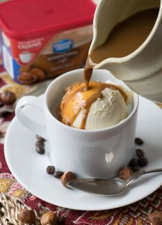 Hazelnut Affogato - A fantastic and creamy dessert made by pouring hot espresso over vanilla ice cream.