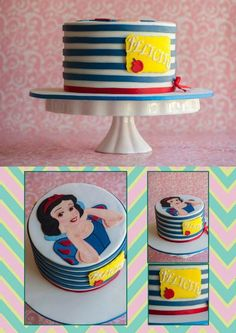 Sugarplumcakes project on Craftsy.com  hand painted Snow White, horizontal stripes.  I like the Snow White color/inspiration without being too frilly/girly.