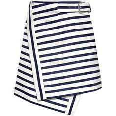 Carven - Flic Flac Stripe Buckled Mini Skirt ($225) ❤ liked on Polyvore featuring skirts, mini skirts, bottoms, saias, asymmetrical skirts, asymmetrical short skirt, white skirt, asymmetrical mini skirt and short skirt